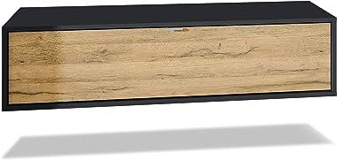 Vladon Meuble TV Lana 120 Armoire Murale lowboard 120 x 29 x 37 cm, Caisson en Noir Mat, façades en Chêne Nature | Grand Choi