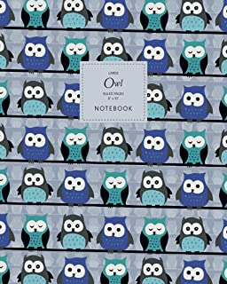 Owl Notebook - Ruled Pages - 8x10 - Large: (Blue Edition) Fun Bird of Prey Notebook 192 ruled/lined pages (8x10 inches / 2...