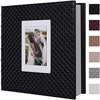 RECUTMSScrapbook Photo Album 60 Pages Handmade DIY 4x6 5x7 8x10 Photos of Any Size, Button GrainLeather Cover of Wedding Photo Album Baby Picture Book Family Scrapbook Photo Album (Black)