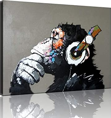 TutuBeer Gorilla Monkey Music Oil Painting 100% Hand-Painted Monkey Canvas Wall Art for Home Decor Music Paintings Wall Decor
