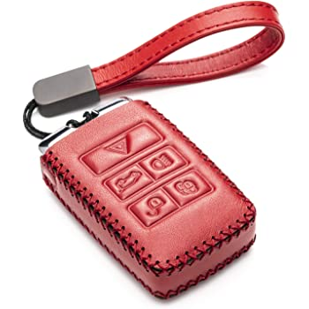 4-Button with Tailgate, Black//Red Vitodeco Genuine Leather Smart Key Fob Case Cover Protector with Leather Key Chain for 2017-2020 Genesis G70 G80 G90