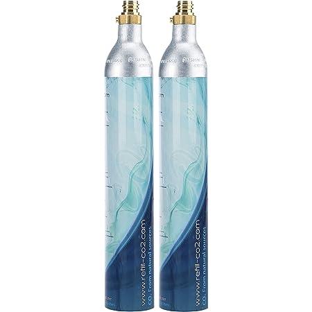 Levivo 2x Cylindre CO2 pour les machines à eau gazeuse, cylindre plein pour env. 60 l d'eau gazeuse, Argent