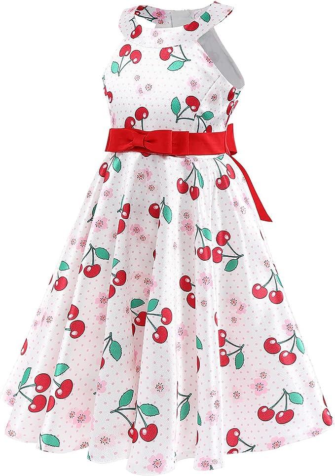 Kids 1950s Clothing & Costumes: Girls, Boys, Toddlers Vintage Dresses for Girls Polka Dot Halter Neck Sleeveless Princess Dress Flower Girl Cold Shoulder Summer Retro Dress  AT vintagedancer.com