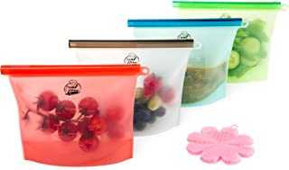 Reusable Silicone Food Storage Bags with Free Silicone Cleaning Scrubber – Pack Of 4 Eco-Friendly Airtight Zip Lock Preservation Containers - Leak-Proof Utensil For Snacks, Meat, Fruits & Vegetables