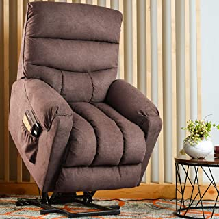 Rhomtree Heavy Duty Power Lift Chair Electric Recliner Sofa Chair for Elderly Help Standing Fabric Living Room Chair Home Theater Seat (Brown)