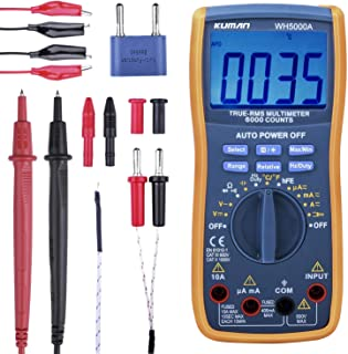 Kuman Digital Multimeter,True RMS 6000 Counts Multimeters Manual and Auto Ranging,Measures Voltage,Current,Resistance,Capacitance,Frequency,Transistor,with 2x Test Lead Set&Alligator Clips Jumper Wire
