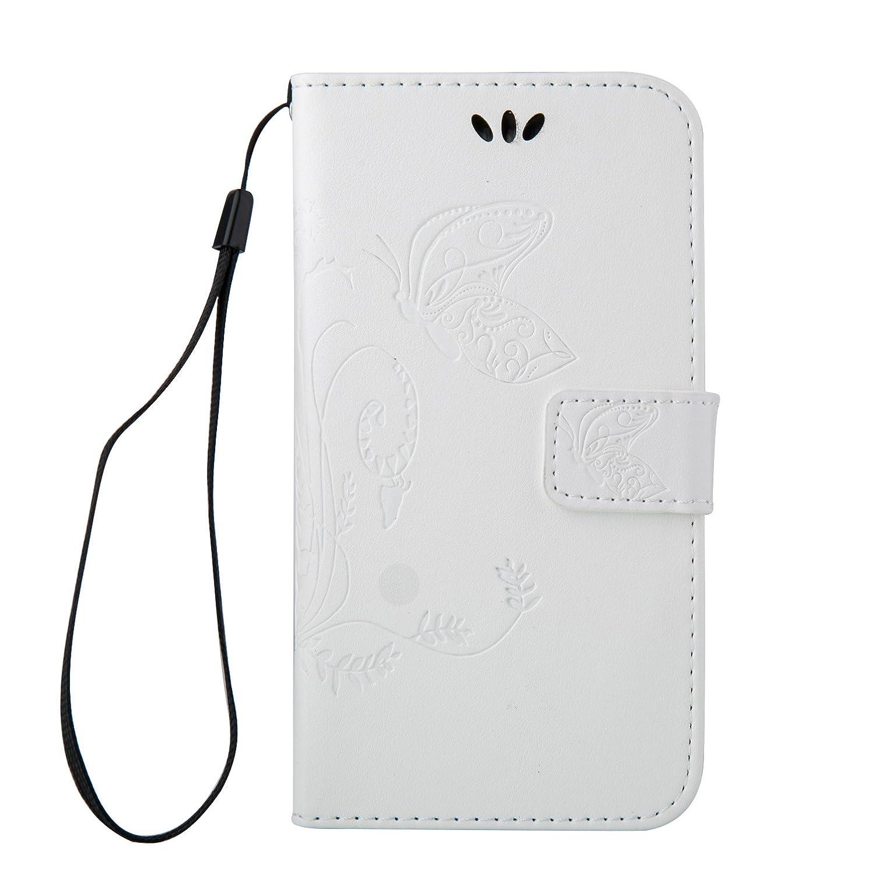 あさり神学校狂信者OMATENTI iPod Touch 6 ケース, Apple iPod Touch 6th 高級PUレザー ケース 手帳型 保護ケース カード収納ホルダー付き 横置きスタンド機能付き マグネット式 スマホケース [全10色] (ホワイト)