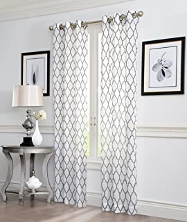 2 Piece GEO Flocked Sheer Grommet Window Curtain Panels 38