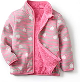 Curipeer Polar Fleece Jacket Infant for Girls Zip Up Jacket Coat Fall