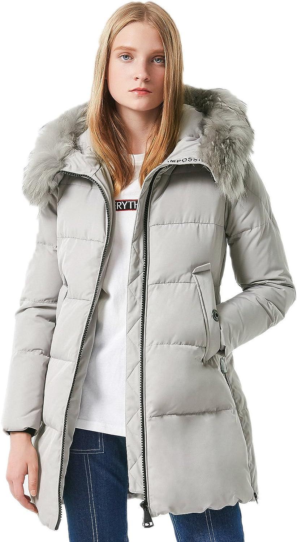 BOSIDENG Women's Winter Down Jacket Thicken Waisted MidLong Fur Hooded Outerwear