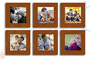 Art Street Collage Timeline Wood Wall Photo Frame (Brown,Set of 6 Wall Photo Frames)