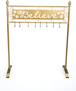 TisYourSeason Believe Christmas Stocking Holder Stand in Gold Color