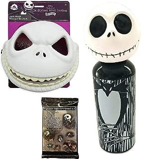 King Jack Mask NBC Nightmare Before Christmas Pack Aluminum Water Bottle Figure Head + Dress Up Jack Skellington Skull Mask with Movie Trading Cards Bundle