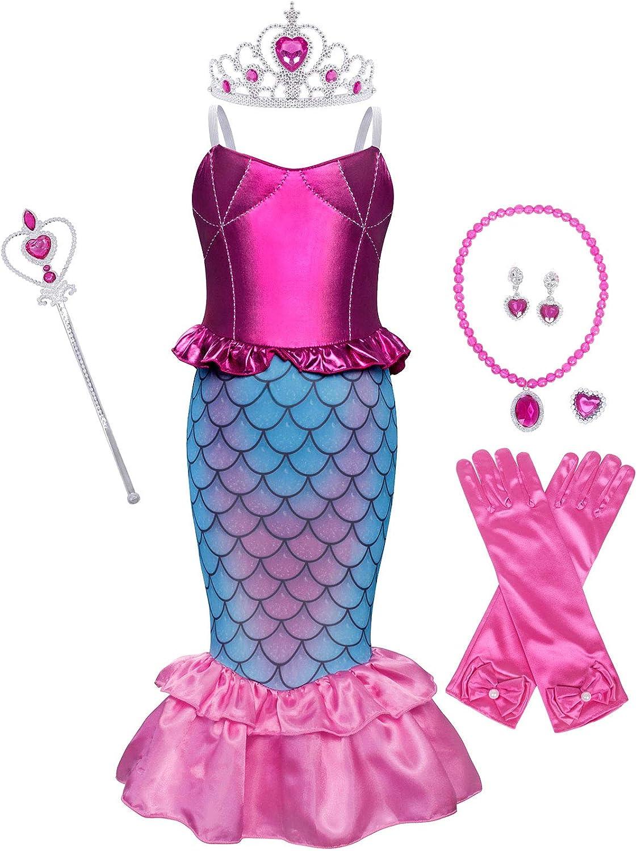 WonderBabe Little Girl Mermaid Princess Dress Kids Fancy Festival Birthday Party Outfit
