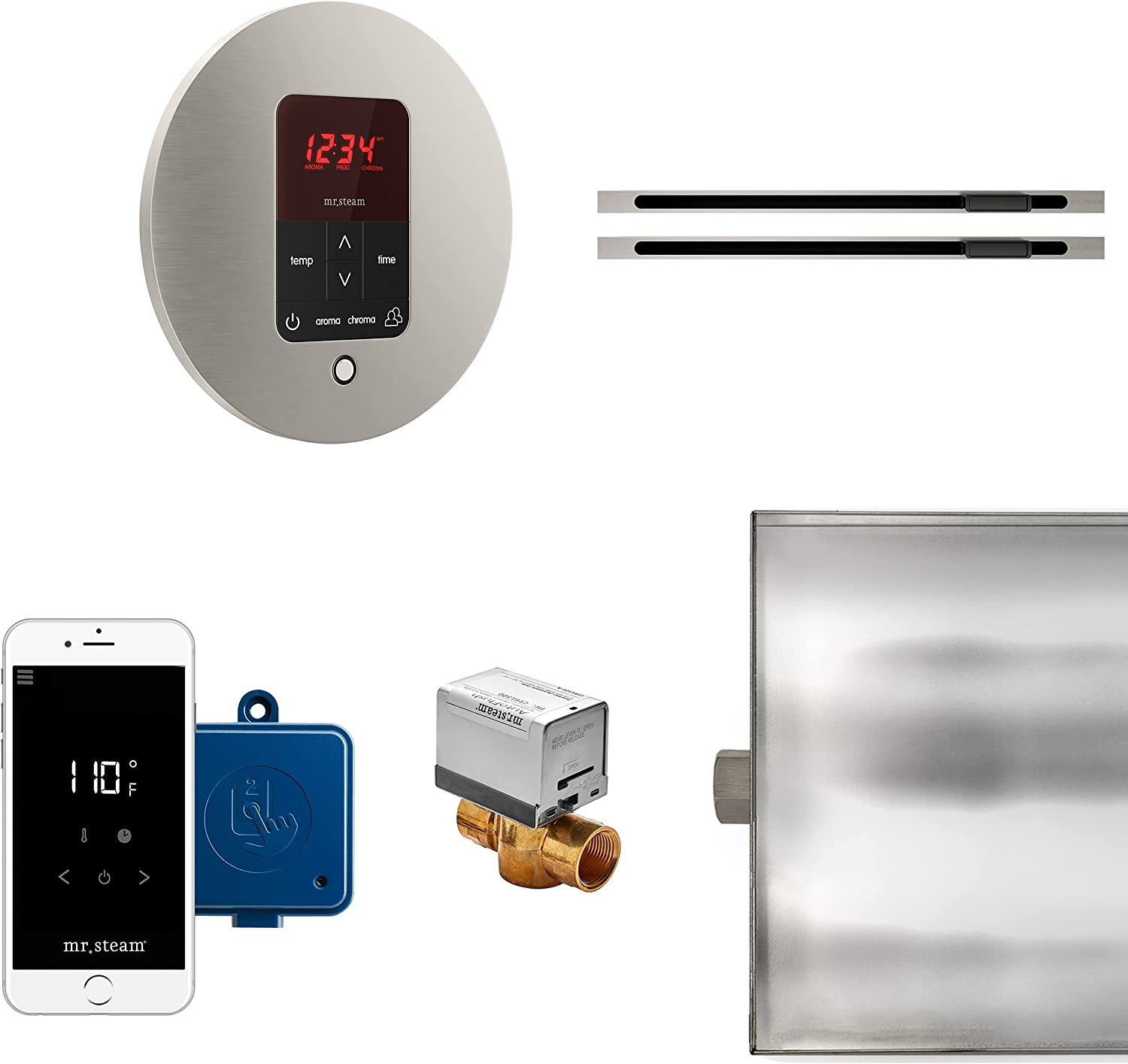 Limited price sale New mail order MrSteam Butler Max Linear Package Brushed Control Round Nickel