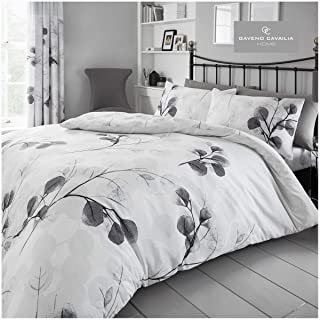 Gaveno Cavailia Honesty Leaf King Duvet Set Grey Reversible Easy Care Cotton Blend 3 Piece Bedding   1 Quilt Cover + 2 Pil...
