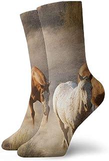 tyui7, Running Horse Antideslizantes Calcetines de compresión Cosy Athletic 30cm Crew Calcetines para hombres, mujeres, niños
