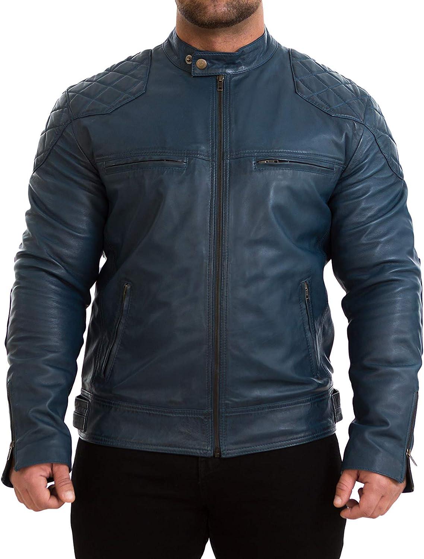 Z8 Mens Leather Jacket Slim Fit - Mens Jacket Motorcycle Biker Cafe Racer Style - Real Lambskin Leather Jacket for Mens