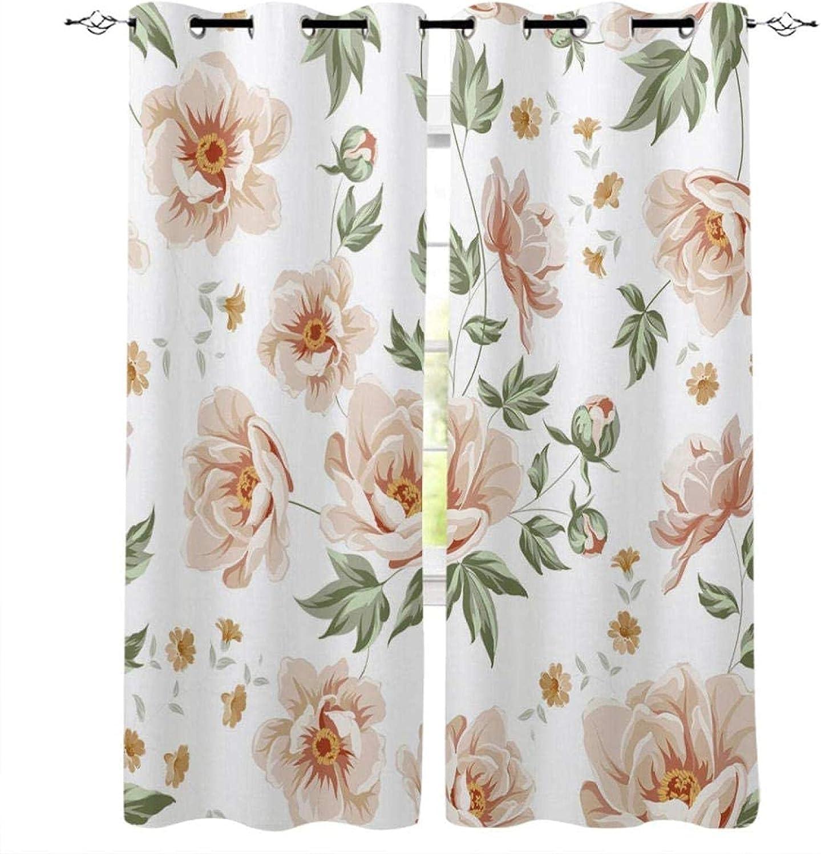 XKSJWY specialty shop Kitchen Curtains Peony New item Flower 3D Eyelet Plant Inch 104X95
