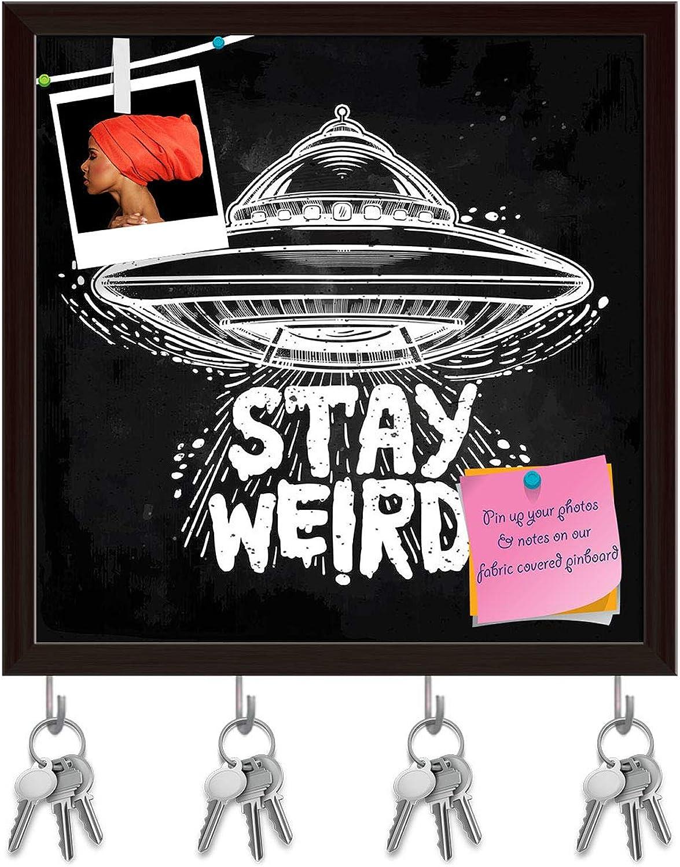 Artzfolio Stay Weird D3 Key Holder Hooks   Notice Pin Board   Dark Brown Frame 20 X 20Inch