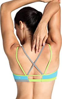 CRZ YOGA Women's Padded Cool-Look Criss Cross Strappy Yoga Sports Bra
