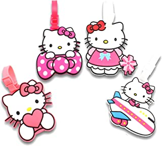 Finex Set of 4 - Hello Kitty Travel Luggage ID Tag for Bags Suitcases with Adjustable Strap