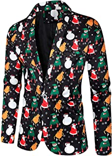 Men's One Button Printed Christmas Blazer Slim Fit Suit Jacket Prom Party Tuxedos Blazer Spring Winter Coat