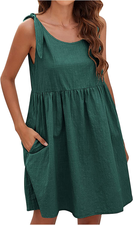 Summer Dresses Women Casual Sleeveless O-Neck Bandage Solid Dresses Loose Dress Maxi Dress Sundress Plus Size Beach se Green