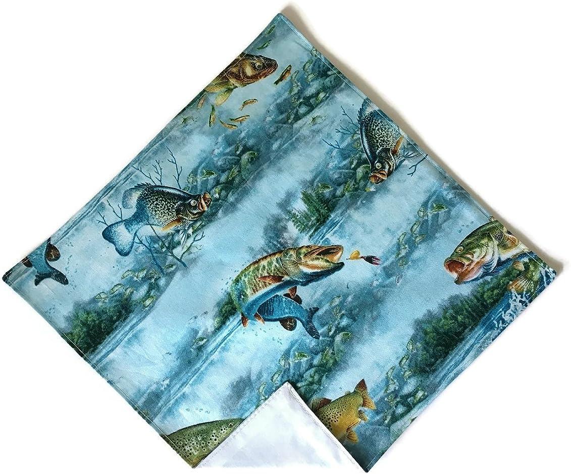 Holiday Bow Ties Mens Fishing Handkerchief Pocket Square in Shades of Blue