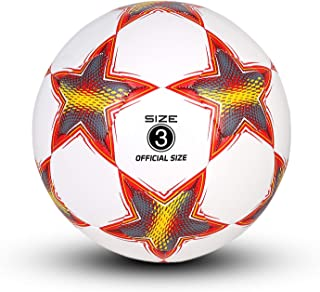 YANYODO Soccer Training Ball, Pentagram Practice Soccer Balls Classic Sizes 3,4,5 for Youth, Kids, Perfect for Outdoor & Indoor Match or Game, Red White