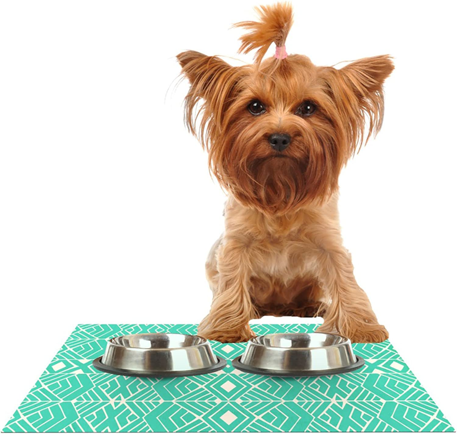 Kess InHouse Pom Graphic Design Going Native  Pet Bowl Placemat for Dog and Cat Feeding Mat, 24 by 15Inch, Teal