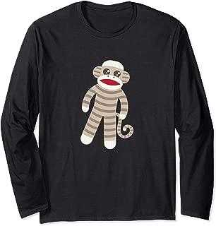 Cute Classic Striped Sock Monkey Long Sleeve Shirt