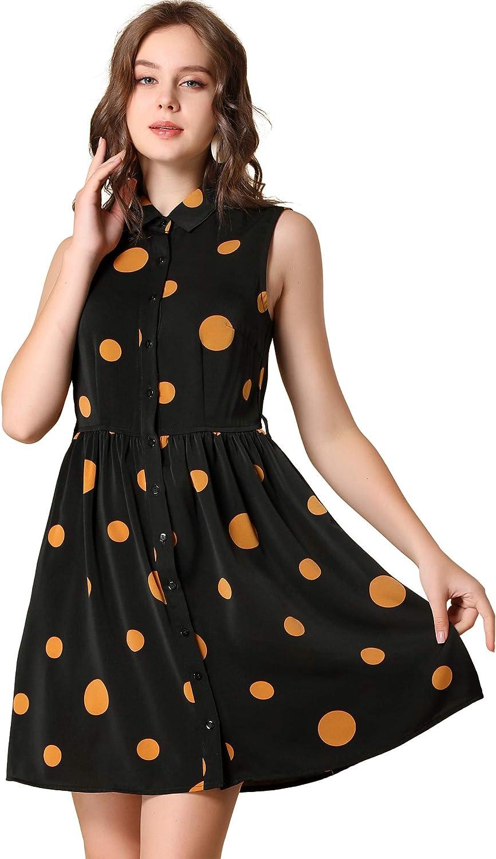 Allegra K Women's Polka Dots Button Down Tie Waist Sleeveless Shirt Dress