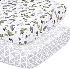 The Peanutshell Dinosaur Fitted Crib Sheet Set for Baby Boys or Girls, 2 Pack Unisex Set