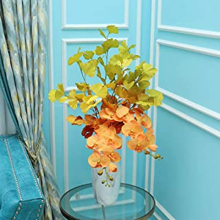 YATAI 3 Fork Artificial Flowers Faux Silk Ginkgo Fake Leaves Wildflowers Greenery Shrubs Plastic Plants Bushes Home Garden...