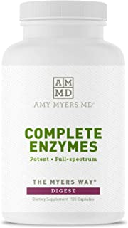 Dr. Amy Myers Digestive Enzymes – 19 Enzymes to Support IBS, Leaky Gut, Bloating, Constipation, Gluten Exposure - Amylase, Lipase, Lactase, Alkaline Protease, Sucrase + More – 120 Vegetarian Capsules