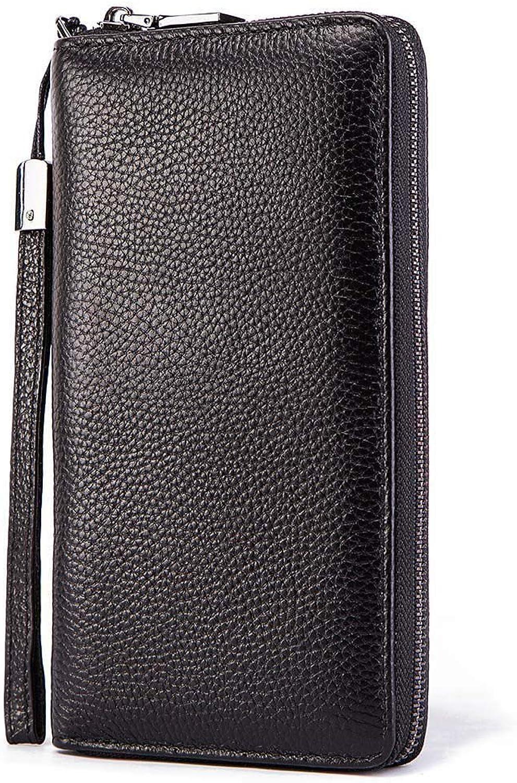 AXELEL Mens echtes minimalistisches Leder Geldbörse RFID Blockierung Blockierung Blockierung sicherer Reißverschluss Bifold Kartenhalter Geldbörse B07Q3SDV45 336385