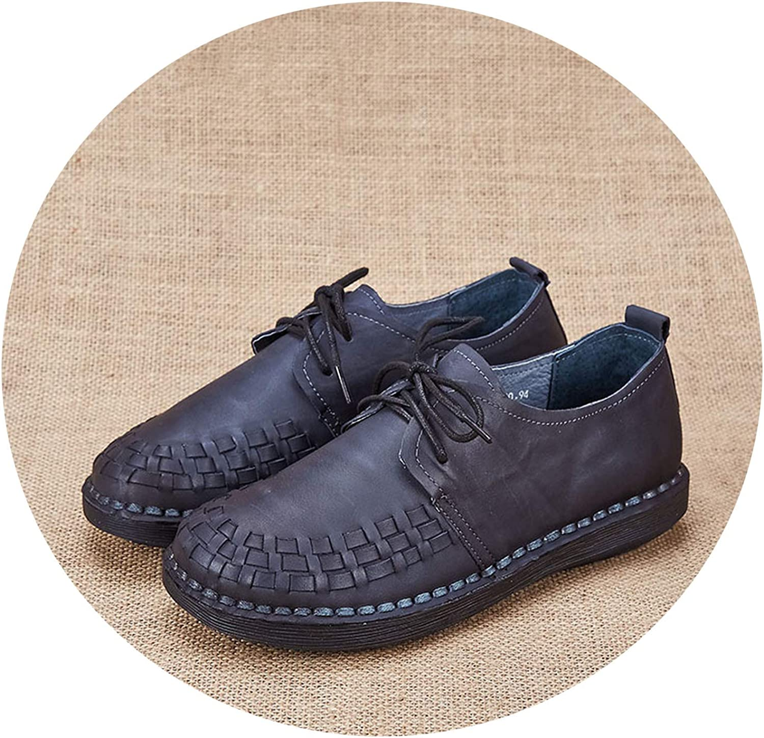 Be fearless Genuine Leather Oxford shoes for Women Round Toe Lace-Up Casual shoes Spring and Autumn Flat Loafers