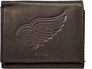 Rico Detroit Red Wings NHL Embossed Logo Dark Brown Leather Trifold Wallet