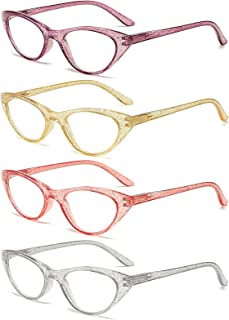 100 CLASSIC Reading Glasses with Spring Hinges 4 Pack Quality Fashion Colorful Readers for Women 2.50