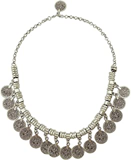 Retro Boho Gypsy Silver Coin Charms Choker Necklace Pendant