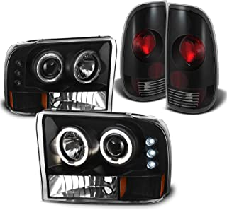 For Ford F-Series SuperDuty Black Bezel Dual Halo Projector Headlights Replacement + Tail light Set