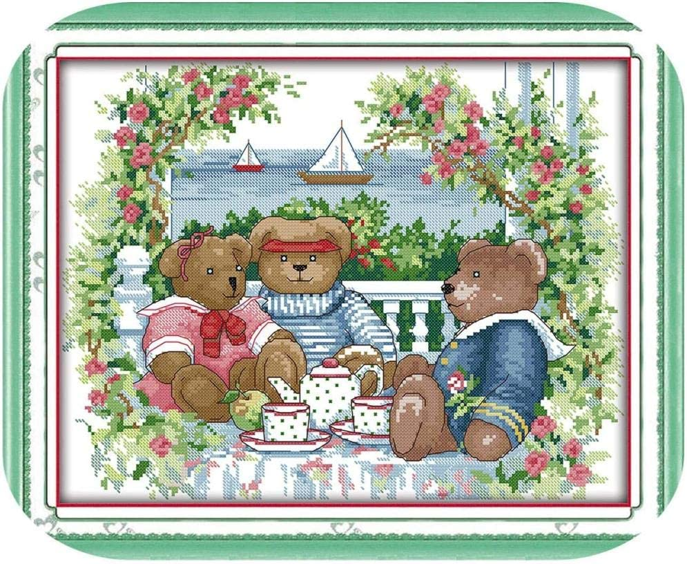 Stamped Denver Mall Cross Stitch Kits Beginners Adult Cheap mail order specialty store Embroidery Bear Af for