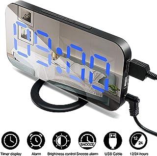 ALLYAOFA LED Digital Alarm Clock, Portable Mirror Surface Design LED Display with Snooze Time Function for Bedroom, 3 Adju...