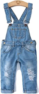 Kidscool Girls Ripped Holes Big Bibs Soft Slim Jeans Overalls