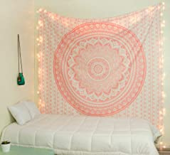 Popular Handicrafts Ombre Tapestry Mandala Tapestries Wall Art Hippie Wall Hanging Bohemian Bedspread with Metallic Shine Tapestries 84x54 Inches Rose Gold