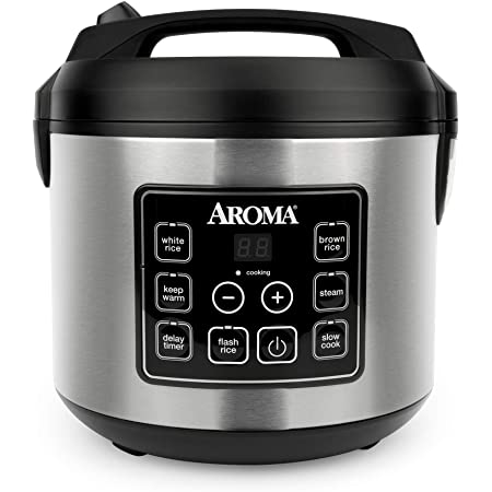 Aroma Housewares 20 Cup Cooked (10 cup uncooked) Digital Rice Cooker, Slow Cooker, Food Steamer, SS Exterior (ARC-150SB),Black