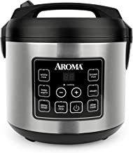 Aroma Housewares 20 Cup Cooked (10 cup uncooked) Digital Rice Cooker, Slow Cooker, Food Steamer, SS Exterior (ARC-150SB),B...