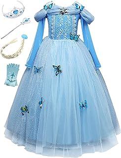 Monissy Costume Reine des Neiges Princesse Elsa Robe Bleu Dentelle Manche Longue Tulle Brillant Papillon Diadème Perruque ...