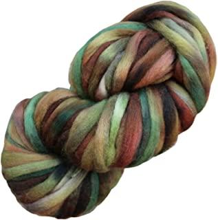 Living Dreams SUPER ZIPPY Hand Dyed Extra Bulky Wool Roving Yarn for Knitting Crochet Weaving & Boho Wall Art. Made in USA. Camouflage